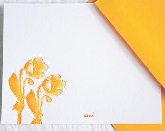 Personalized Letterpress Stationery Poppies Golden Yellow Stationery Set