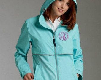 Monogrammed Charles River Rain Jacket, Hooded Rain Jacket