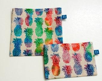 Wiederverwendbar Eco-Friendly Set Snack und Sandwich-Taschen in Tie-Dye-Ananas-Stoff