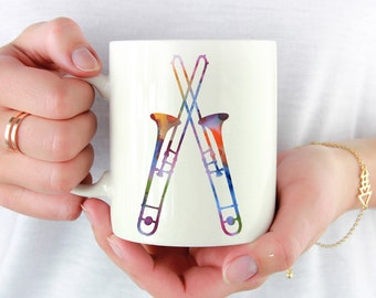 Trombone Player Mug - Jazz Music Lover Gift - Colorful - Trombone Lover - Trombone Player Art Mug - Trombone Coffee Mug - Unique Music Gifts
