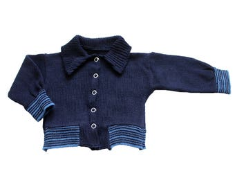 FRENCH VINTAGE 70's / baby cardigan / navy blue + striped / new old stock / size 6 months