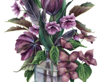 Fine Art Print of Original Watercolor Painting - May Flowers