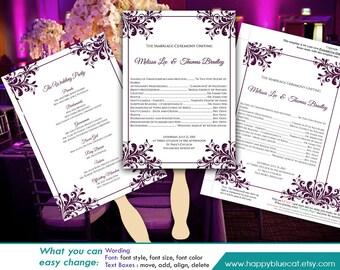 "DiY Printable Wedding Fan Program Template - Instant Download - EDITABLE TEXT - Plum Ornament frame  5""x7"" - Microsoft® Word Format HBC85"