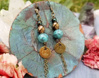 Gemstone Drop Earrings, African Turquoise, Czech Glass, Brass, Limited Edition