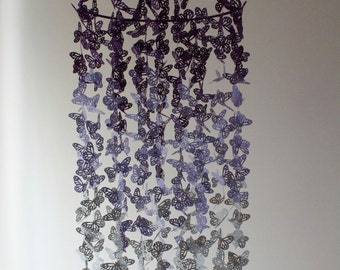 Butterfly Nursery Mobile - Purple, Lilac and Soft Grey Ombre Chandelier Butterfly Mobile - Butterfly Mobile - Crib Mobile - Nursery Decor -