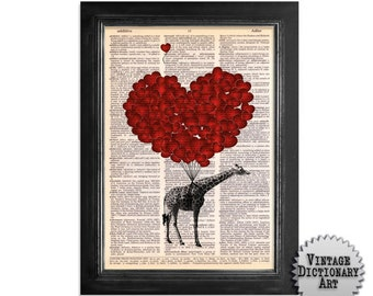 Giraffes Fly with Love - Orignal Art Print on Recycled Vintage Dictionary Paper - 8x10.5