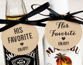 His Favorite - Her Favorite - Wedding Favor - Wedding Favor Tags - Wedding Shower Tags - Wedding Favor Ideas - 36 Tags