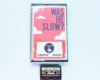 "Baby Driver ""Was He Slow?"" Cassette Tape 1.5"" Enamel Pin With Custom Case"