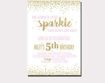She Leaves  A Little Sparkle Birthday Invitation | Pink and Gold Invitation | She Leaves A Little Sparkle Wherever She Goes