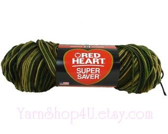 CAMOUFLAGE yarn, Red Heart Super Saver yarn, 5oz yarn, Brown Camo yarn, acrylic yarn, worsted weight, Medium, military, Camouflage yarn >