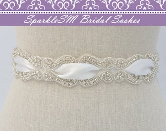 Crystal Dress Sash, Bridal Belt, Bridal Sash, Rhinestone Sash, Rhinestone Belt, Beaded Bridal Belt, Wedding Sash, Wedding Belt, Satin Sash
