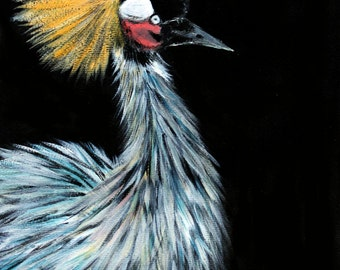 Acrylic Painting Of A Grey Crowned Crane By Lauren Bridgstock
