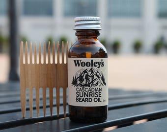 Fresh Scent Beard Oil and Comb Combo, Wooley's Cascadian Sunrise Beard Oil, Beard Comb, Mustache & Beard Oil, Men's Gift, Beard Care