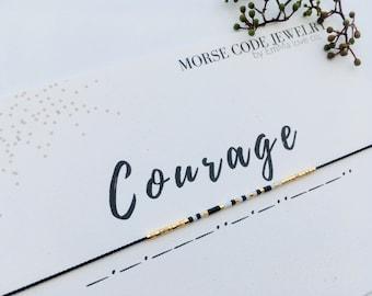 COURAGE Morse Code Bracelet / Courage Bracelet / MORSE Code Jewelry / Friendship Bracelet / Stackable Bracelets