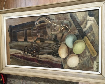 Antique Oil Painting ARTIST: Rutherford ~ Not My Cup Of Tea ~ But Very Nice