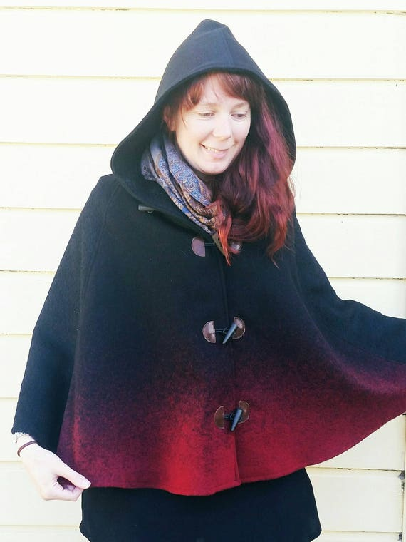 Red and Black Ombre Wool Cape, Cloak, Poncho, Coat with Hood and Wooden Toggles.