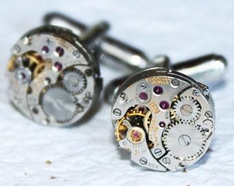 BULOVA Steampunk Cufflinks - Silver Vintage Watch Movement Men Steampunk Cufflinks / Cuff Links - Wedding Men Wedding Gift Fathers Day Gift