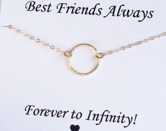 Gold Circle Necklace, Friends Gift, Karma Necklace, Eternity Necklace, Infinity Necklace, Gold Eternity Necklace, Friends Necklace
