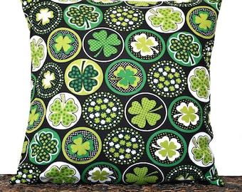 Shamrocks Pillow Cover Cushion St Patricks Day Kelly Green Lime Green White Black Polka Dots Decorative 18x18