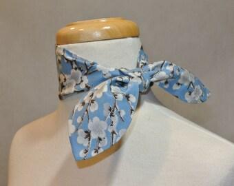 Sky Blue Ume Blossom Scarf,Skinny Scarf,Mini Scarf,Mini Skinny Scarf,Cotton Mini Skinny Scarf,Kerchief,Neckerchief,Ascot,Mini Ascot Scarf