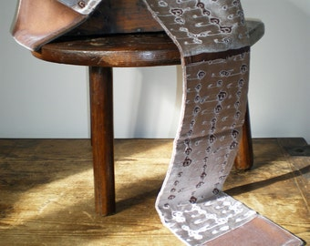Hand printed embossed velvet scarf safety pin design