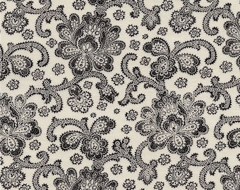 211670 beige fabric with black Jacobean flower design by Timeless Treasures