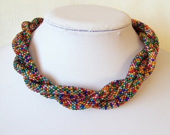 Long Beaded Crochet Rope Necklace - Beadwork - Seed beads jewelry - Elegant - Mosaic - Geometric - colorful necklace, multi color necklace