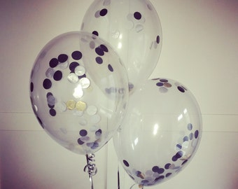 """3 6 9 or 12 pack bespoke Clear Confetti balloon with string with biodegradeable confetti can be customised 11"""" diameter balloons"""