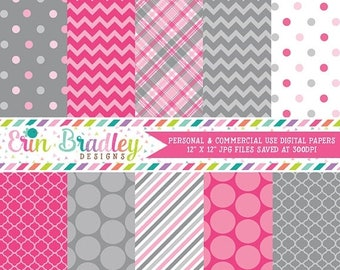 80% OFF SALE Digital Scrapbook Papers Personal and Commercial Use Pink and Grey Medley