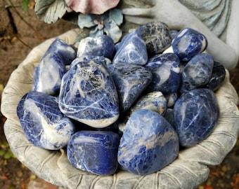 1lb XL Tumbled Sodalite from Brazil, tumbled stones, healing stones, crystals, chakra stones, bulk, wholesale