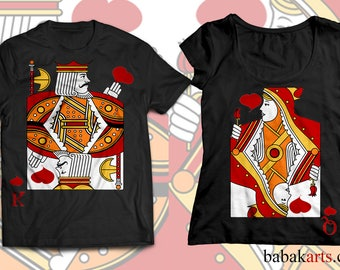 Playing card t shirt T-Shirt 2 for 1, his & hers shirts - couple shirts - couple tees, his and hers t shirts, king and queen shirts