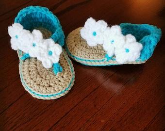 crochet baby sandles - crochet flowered sandles - baby shoes