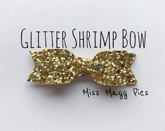 Old Gold · Glitter Shrimp Hair Bow / Baby Headbands / Toddler Hair Clips / Infant Headband / Gift for Baby Girl / Sparkly Hair Bows / Gold