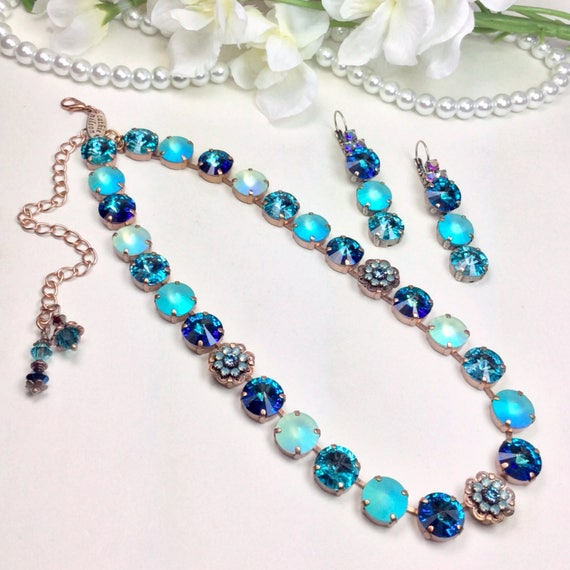 "Swarovski Crystal 12mm Necklace -  ""Ocean Mist"" - Special Glowing Matte AB Crystals, Filigree & Flower Embellishments - FREE SHIPPING"