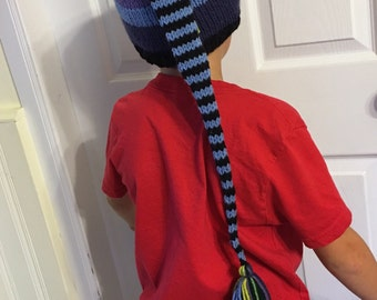 Boy Knit SToCKiNG CaP Kids Extra Long Tail PiXiE HaT Guy TaSSeL BeANiE Black Blue Purple Lime Stripe ToQUE Child to Small Adult UNiQUE GiFT