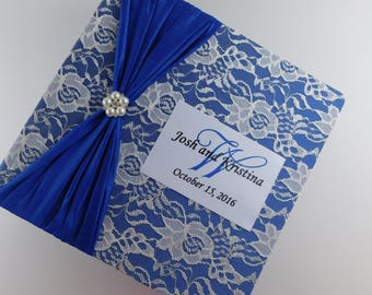 Wedding Photo Album Personalized Bridal shower Gift 4x6 5x7 8x10 picture Book Engagement Anniversary Scrapbook Dark Blue Ivory lace