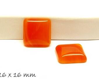 2 PCs gemstone cabochons agate, 16 x 16 mm