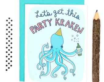 Funny Octopus Birthday Card, Let's Get Kraken, Kraken Birthday Card, Funny Octopus Card, Nautical Birthday Card, Cute Octopus Card, Sea Life