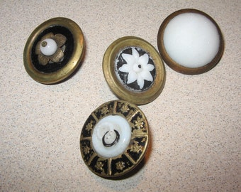 Button 4 Glass in Metal Century Vintage Antique Sewing Buttons PR#141