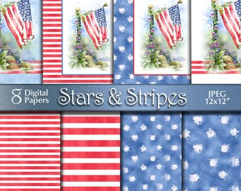 4th of July Patriotic Watercolor Painting   Independence Day   Flag Stars & Stripes Digital Paper   Digital Download   Red White Blue