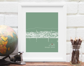 Burlington Vermont Skyline Art, Burlington Skyline Gift, Wedding Decor, Personalized City Skyline, Engagement Gift, Guestbook Idea