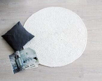 Crochet Carpet RUUGY / Boho Area Rug / Chunky Nursery Rug / Scandinavian Interior Design Style - White