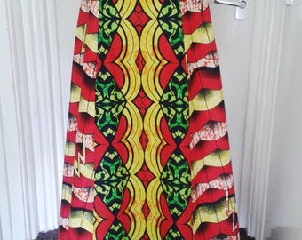 Miranda Red and Yellow African Wax Maxi Skirt, Ethnic print skirt, Long African skirt – Made to Order.