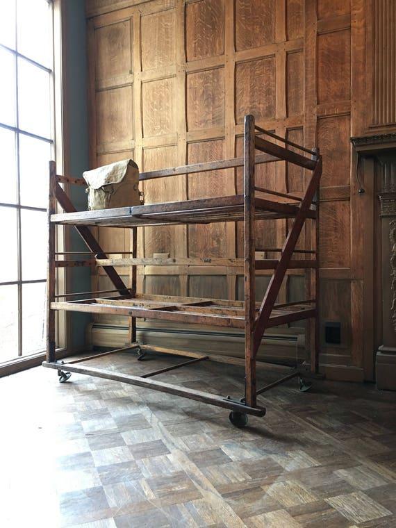Large Antique Bakers Rack, Wood Bakers Rack, Wooden Bakers Rack, Industrial Shelf, Bakers Rack Vintage