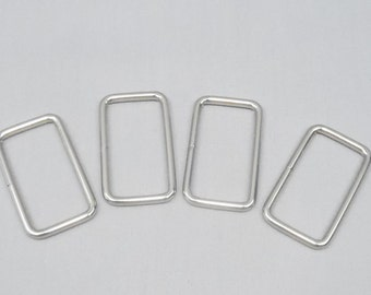 10 Silver 1.5 Inch (38mm) Zinc Alloy Rectangle Rings