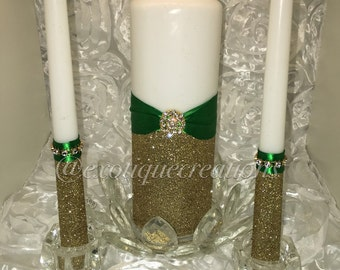 Unity Candle Set Green and Gold
