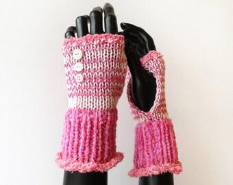 Fingerless Wristwarmers - Bubblegum Frilly Fingers - Pink Fingerless Gloves