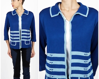 Vintage 1960s Blue Knit Trompe L'oeil Cardigan | Medium