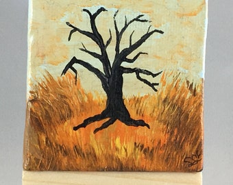 """Original Handmade Mini Canvas with Small Easel Original Rustic Fall Art of a Dead Tree in the Prairie; 2.5"""" Square Acrylic Painting"""