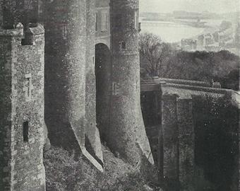 Dover Castle Key to england 1930s vintage Print Black and white from photograph Vintage ephemera